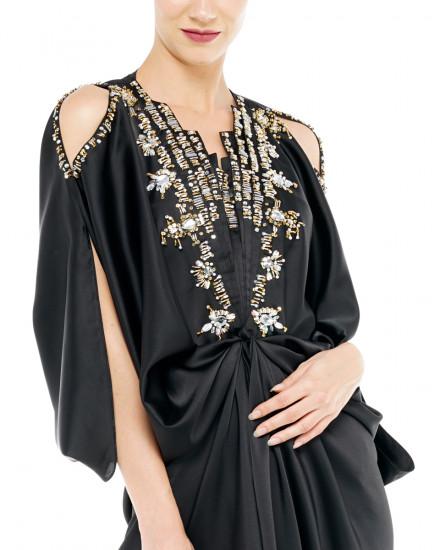 Cassia Embellished Open Shoulder Signature Front Knot Kaftan in Jet Black