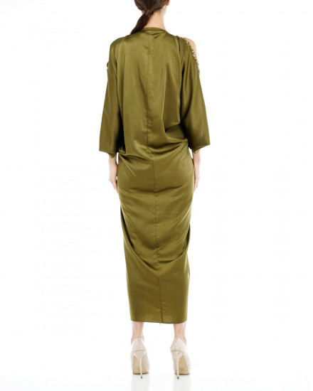 Cassia Embellished Open Sholuder Signature Front Knot Kaftan in Olive Grove