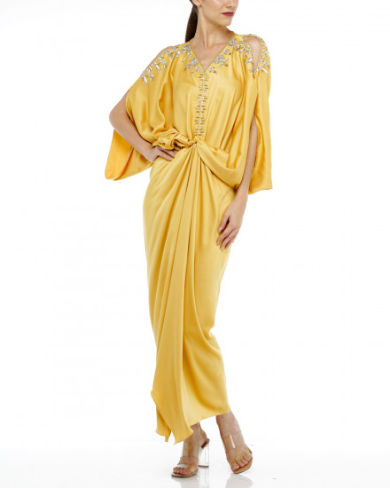 Cassia Open Shoulder Signature Front Knot in Yellow