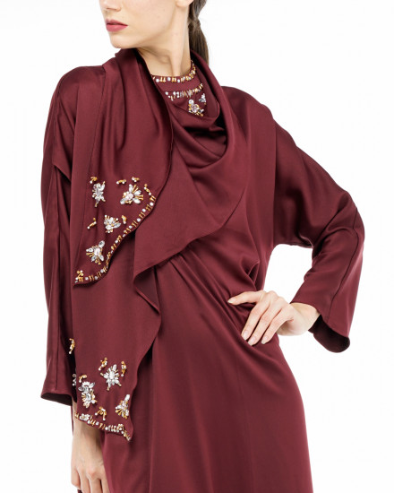 Nevin Scarf Kaftan in Oxblood Red