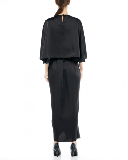 Olesia Signature Wrap Kaftan in Jet Black