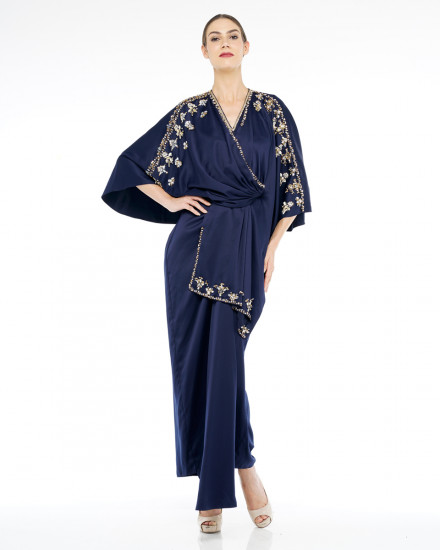 Olesia Signature Wrap Kaftan in Midnight Blue