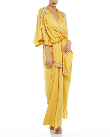 Olesia Signature Wrap Kaftan in Yellow