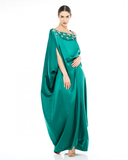 Xylia One Shoulder Signature Side Folded Floral Beads in Emerald Green