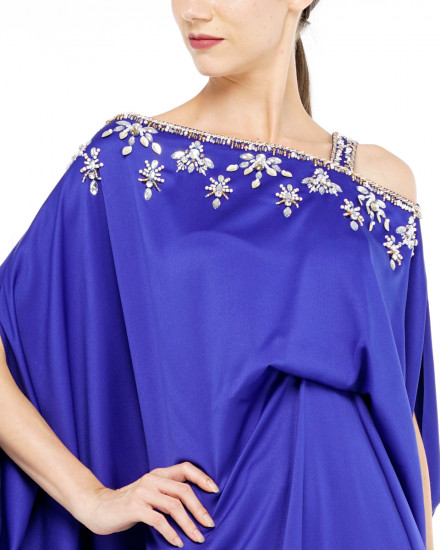 Xylia One Shoulder Signature Side Folded Floral Beads in Electric Blue