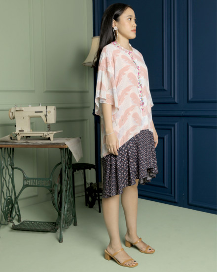 Kaili Dress in Botanic Pink & Soft Blue Pattern