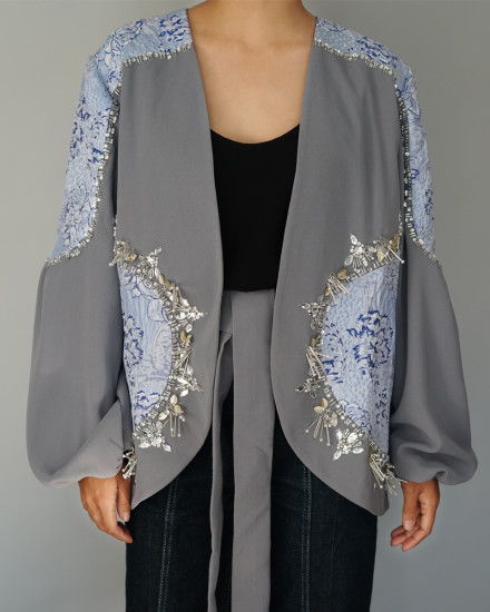 Ivy Outerwear in Frost Grey & Icy Blue Pattern