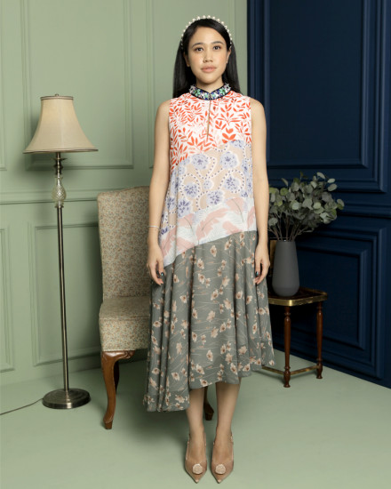 Mayleen Navy Cheongsam Multi Pattern Dress