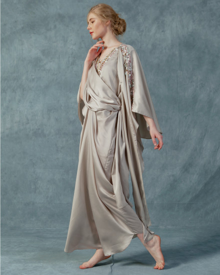 Evren Embellished Three-way Wrap Kaftan in Pearl Grey