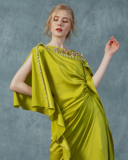 Katka Ruched Slim Fit Kaftan maxi in Acid Lime