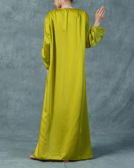 Ankine twist long sleeve kaftan in Acid Lime