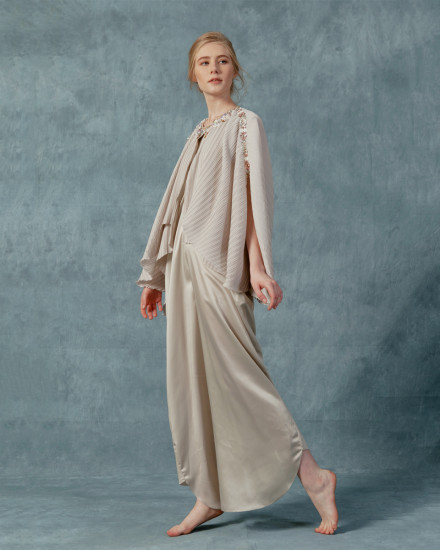 Neuva Cape-effect pleats open shoulder kaftan in Pearl Grey