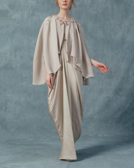 Neuva Cape-effect pleats open shoulder kaftan in Pearl Grey