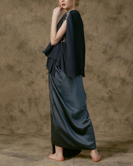 Neuva Cape-effect pleats open shoulder kaftan in Stormy Blue