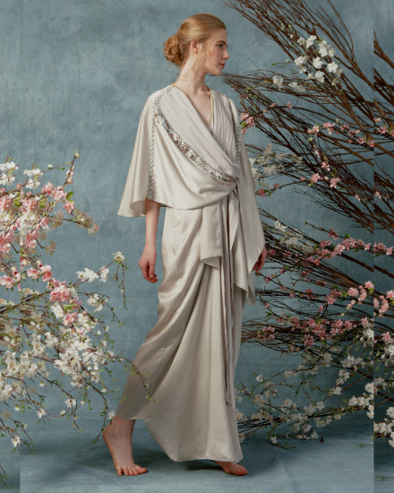 Olesia signature wrap pleats kaftan in Pearl Grey