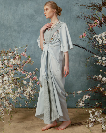 Necali Front draped pleats kaftan in Morning Blue