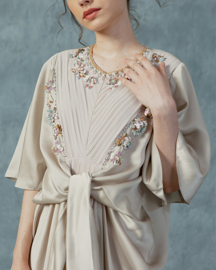Necali Front draped pleats kaftan in Pearl Grey