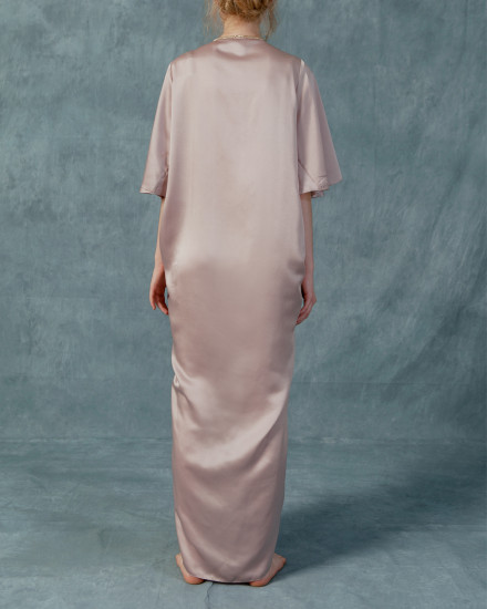 Necali Front draped pleats kaftan in Petal Pink