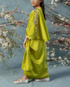 Evren Embellished Petite Three-way Wrap Kaftan in Acid Lime