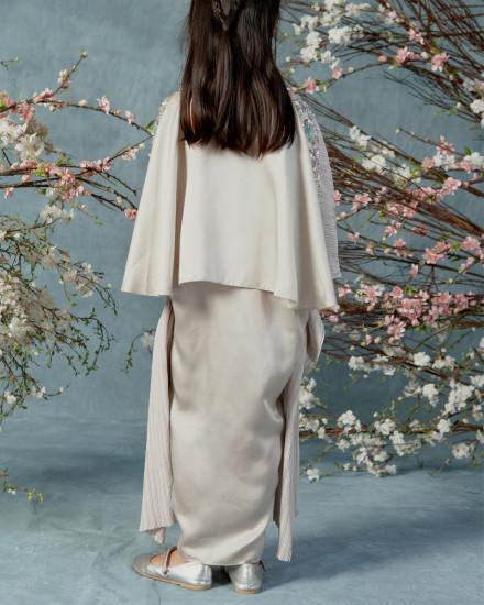 Evren Embellished Petite Three-way Wrap Pleats Kaftan in Pearl Grey