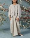 2-9 yo Neuva Petite Cape-effect pleats open shoulder kaftan in Pearl Grey