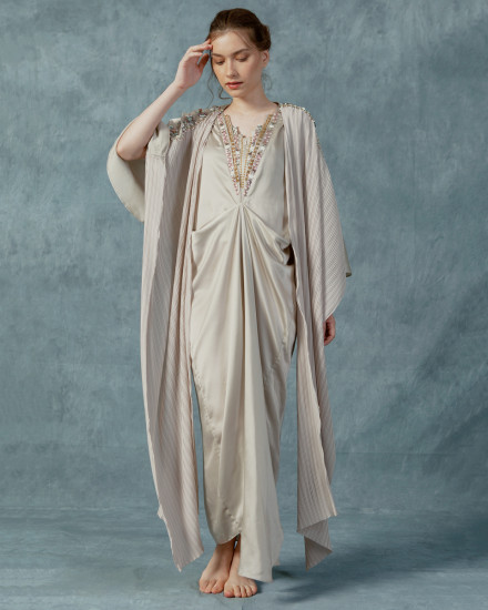Evren Embellished Three-way Wrap Pleats Kaftan in Pearl Grey
