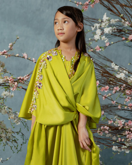 Evren Embellished Teens Three-way Wrap Kaftan in Acid Lime