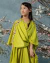 Evren Embellished Teens Three-way Wrap Kaftan in Acid Lime