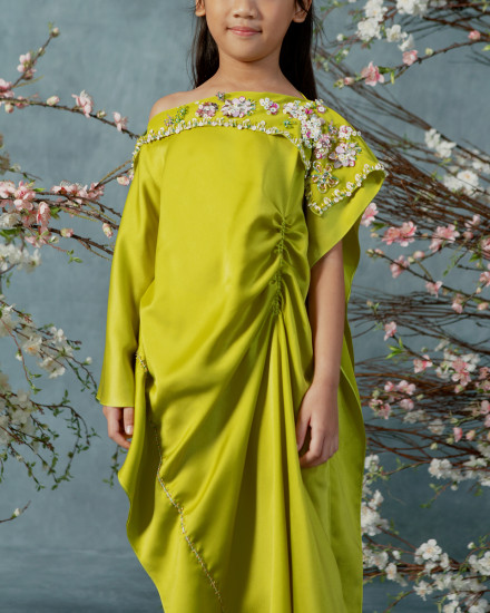 10-15 yo Katka Teen Ruched Slim Fit Kaftan in Acid Lime
