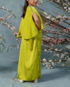 Neuva Teens Cape-effect open shoulder kaftan in Acid Lime