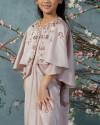 Neuva Teens Cape-effect open shoulder kaftan in Petal Pink