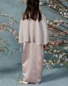 Neuva Teens Cape-effect pleats open shoulder kaftan in Petal Pink