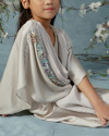 Olesia Teens Signature wrap pleats kaftan in Pearl Grey