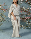 10-15 yo Olesia Teen Signature wrap pleats kaftan in Pearl Grey