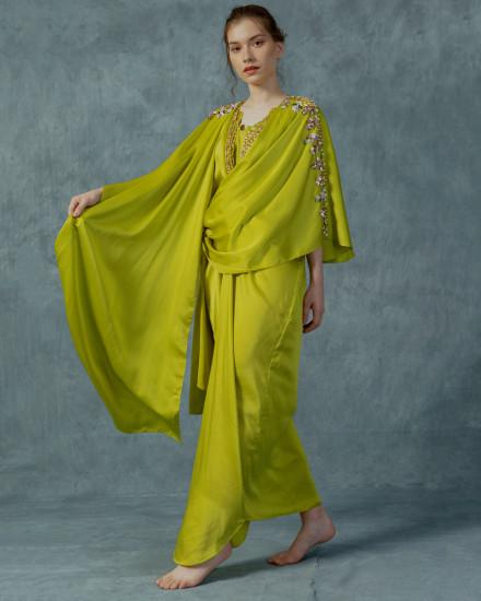 Evren Embellished Three-way Wrap Kaftan in Acid Lime