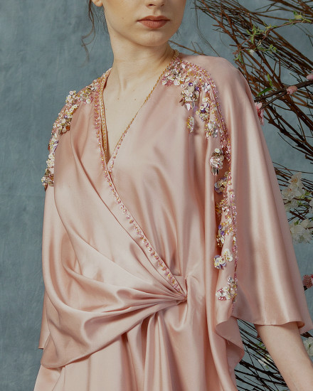 New Olesia Signature Wrap Kaftan in Shimmer Light Pink