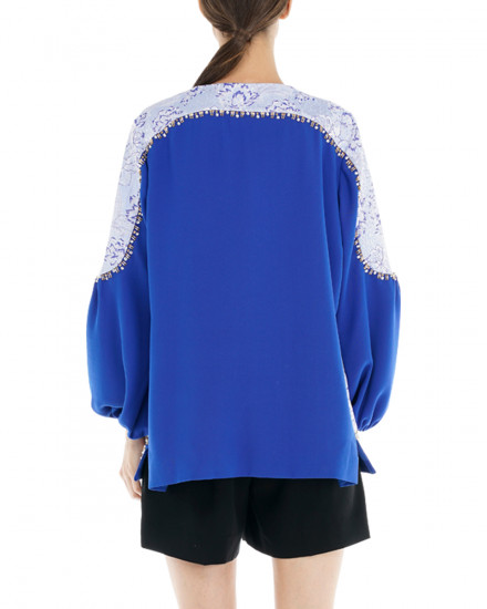Ivy Outerwear in Electric Blue & Airy Blue Pattern