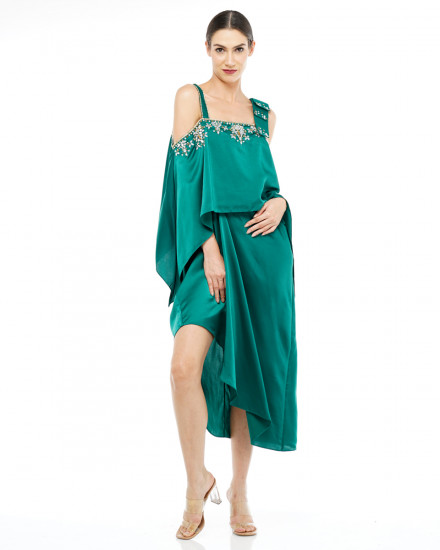 Affie Layered Bow Dress in Emerald Green