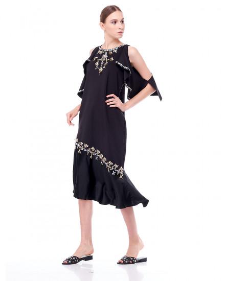Comet Ruffled Dress in Black
