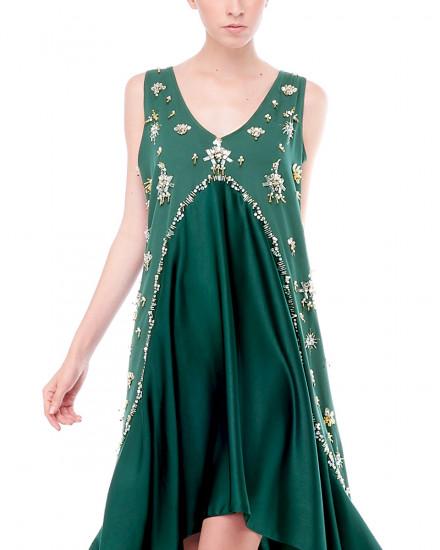 Merry Flounce Dress in Green