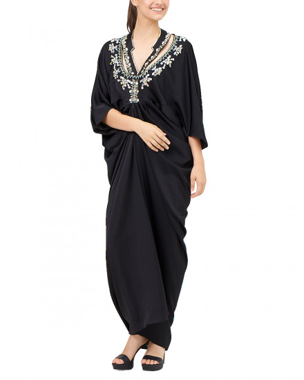 Kaia signature Necklace with Draped Kaftan in Jet Black