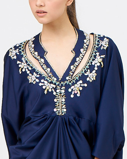 Kaia signature Necklace with Draped Kaftan in Midnight Blue