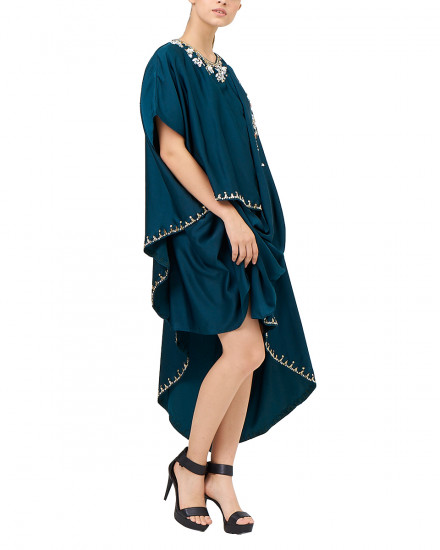 Eartha Mini Signature Drape Kaftan in Deep Teal