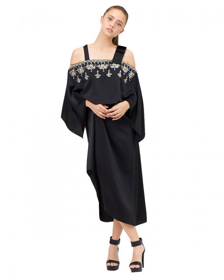 Affie Layered Bow Dress in Jet Black