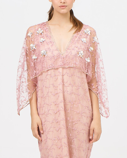 Felix Embroidery Lace dress in Nude and Paste Pink