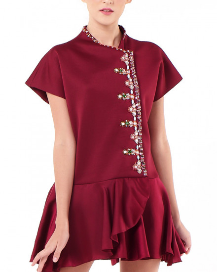 Nian Cheongsam Multiwear Top - Mini Dress in Maroon
