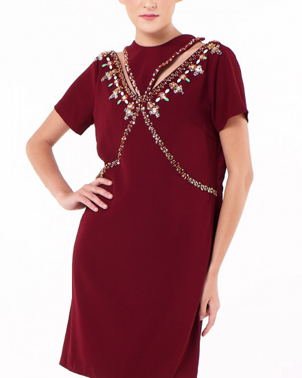 Niu Dress In Maroon
