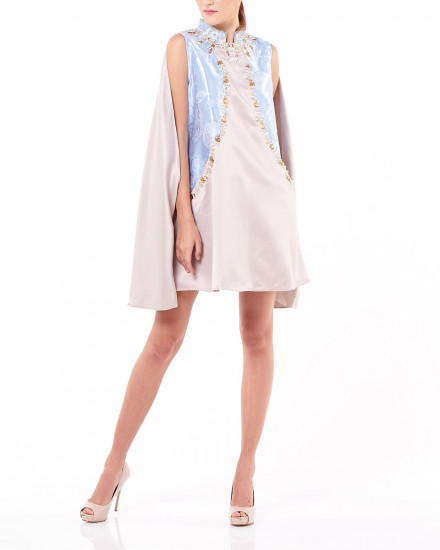 Caixia Cheongsam Dress in Champagne and Floral Sky Blue