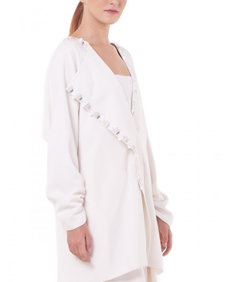 N3 Mini Dress-Effect Blazer in White