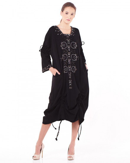 N8 Multi-Length Ruched Dress in Black